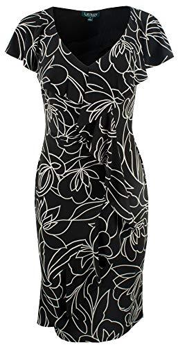 Lauren Ralph Lauren Samson Kleid, Blumenmuster, Flügelärmel - Schwarz - 38