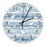 Home Reloj de pared redondo de madera vintage silencioso de 10 pulgadas, copo de nieve con alce, fácil de leer y que funciona con pilas, reloj que no hace tictac para oficina / cocina / dormitorio / s