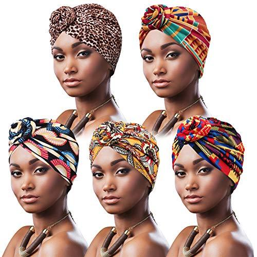 DRESHOW 5 Stücke Afrikanischen Turban für Damen Soft Vorgebunden Knot Mode Plissee Turban Hut Mütze Kopfwickel Schlafmütze