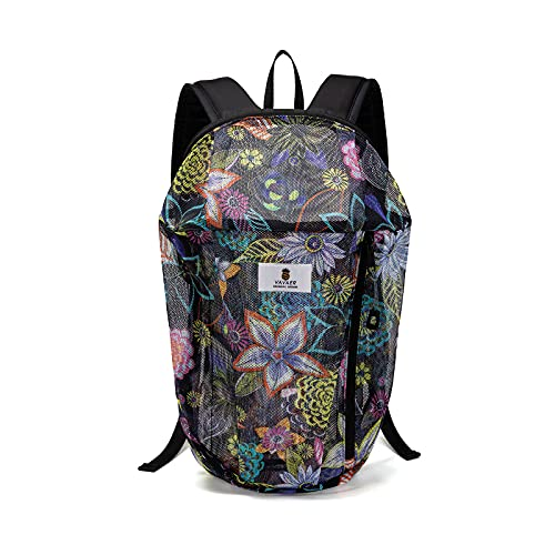 Mesh Backpack Floral Mini Backpack Lightweight See Through Kids Adults 10L Outdoor Small Day...