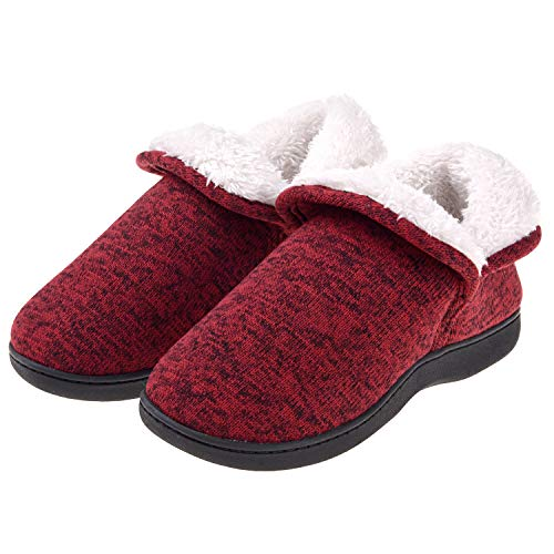 Women's Fuzzy Slippers Boots Memory Foam Booties House Shoes Indoor Outdoor 9-10 Red