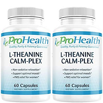 L-Theanine Calm-Plex with GABA and 5-HTP (Suntheanine) (100 mg, 60 Medium Capsules) by ProHealth - 2 Pack