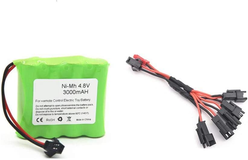 Styleart 4,8 V 3000 mAh NiMH NI-MH-Akku mit Ladeger/ät f/ür RC-Spielzeug Autos Roboter Boote NI-MH AA 4,8 V Akku White