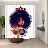 Afro Shower Curtain Black Woman Waterproof Shower Curtain Art Digital Printed Machine Washable Polyester Fabric._W-200 L-180cm