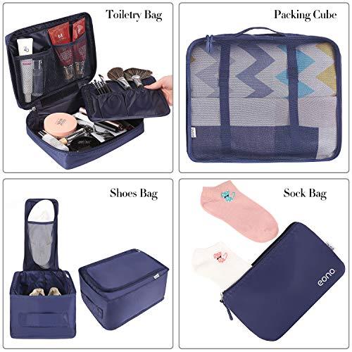 Amazon Brand - Eono 8 Teilige Kleidertaschen, Packing Cubes, Verpackungswürfel, Packtaschen Set für Urlaub und Reisen, Kofferorganizer Reise Würfel, Ordnungssystem für Koffer, Packwürfel - Navy