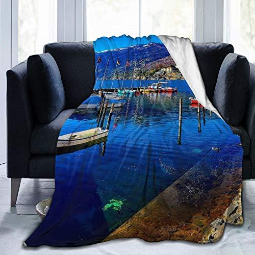Perfect household goods Fleecedecke 127 x 152,4 cm - Ascona Schweiz Landschaft Himmel Zuhause Flanell Fleece Weich Warm Plüsch Überwurf Decke für Bett Couch Sofa Büro Camping