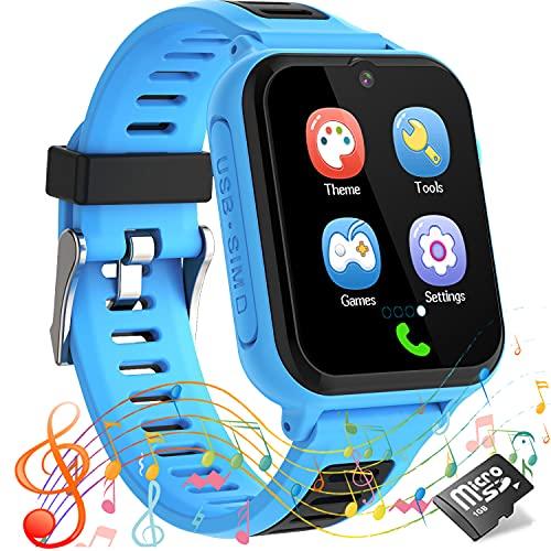 Kids Smart Watch for Boys Girls, Music Player, 14 Games, Voice&Video Call, Calculator&Recorder, SOS Alerts Clock, Waterproof, Age 3-12 Children Birthday Gift (Blue)