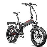Bicicleta electrica Plegable Velocidad máxima de conducción 45 km/h Bicicletas Plegable Bicicletas eléctricas Iones de Litio 13.6AH Tamaño de llanta 20 * 4.0, Negro