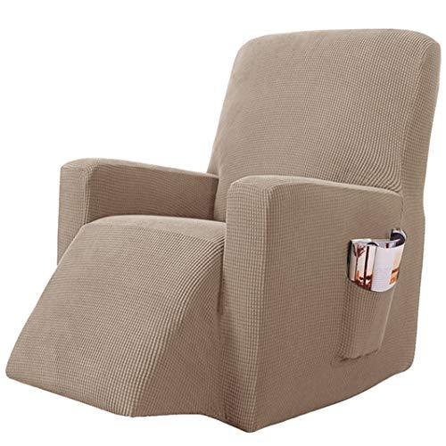 AFGBB Sesselschoner fur Relaxsessel Fernsehsessel 1 Sitzer Braun Stretchhusse für Sesselbezug Elastisch Sesselüberwürfe Bezüge Ruhesessel Jacquard Sofahusse Schonbezug mit Taschen