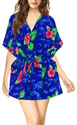 LA LEELA Vestido Vestido de Verano Ropa de Playa Tumbona de Noche de Las Mujeres Ocasionales recargas Cubierta Azul