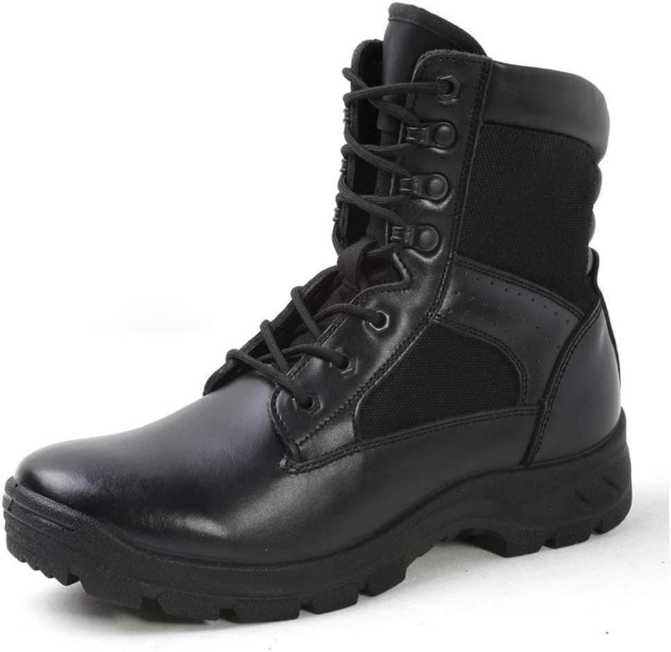 Mens LEATHER BLACK  NON Safety Combat SECURITY WORK Police Army Military Boots