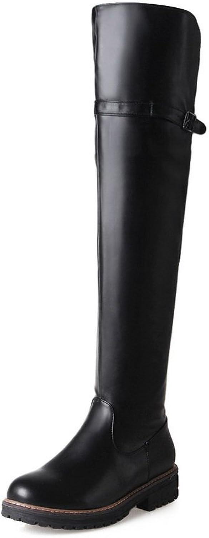 BalaMasa Womens Zipper Platform Round-Toe Urethane Boots