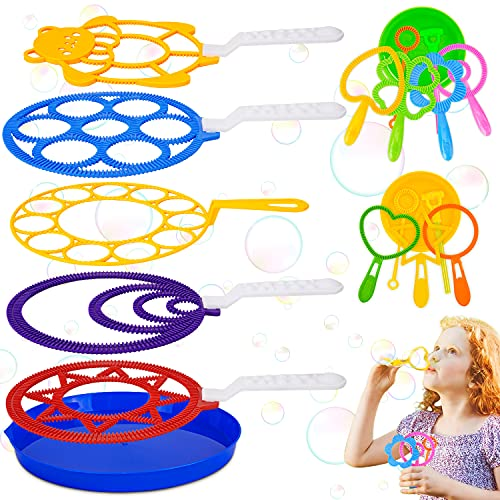 Varita de Burbuja, 19 pcs Juego de Pompas de Jabón, Maquina de Burbujas, Burbujas de Jabón Kit, Creativo Bubbles Maker para Niños, para Actividades al Aire Libre en Verano, Cumpleaños Infantiles
