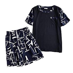 メンズ パジャマ 綿100% 半袖 短パン便利服 春夏 吸汗速乾 肌触りが良い ルームウェア 上下セット 部屋着 (2XL, ブラック)