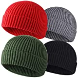 ROYBENS 4 Pack Wool Fisherman Beanies for Men, Knit Short Watch Cap Winter Warm Hats,A