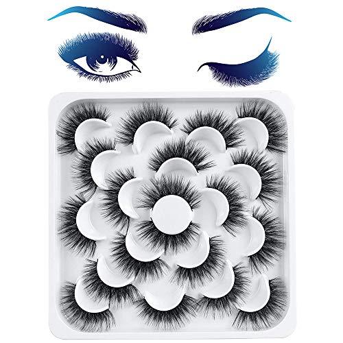 Pestañas Postizas, 10 Pares de Pestañas de Aspecto Naturales 3D Pestañas Mullidas, Pestañas Suaves Reutilizables Hechas a Mano para Extensión de Pestañas de Maquillaje Belleza Pestañas Kit