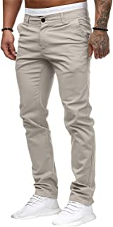 Annystore Fashion Mens Chino Pants Casual Skinny Relaxed-fit Stretch Pants Flex Tapered Trousers Pants