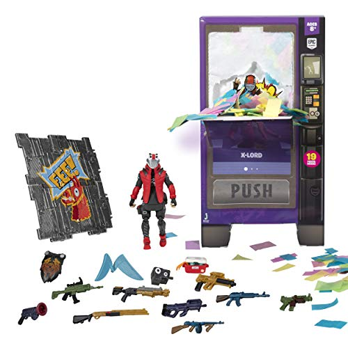"Fortnite Vending Machine, Featuring 4"" X-Lord Action Figure, Including 9 Weapons, 4 Back Blings, and 4 Building Material Pieces"