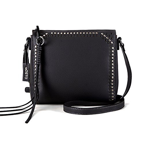 seOSTO Medium Crossbody Bags for Women, Shoulder Bag with Tassel Crossbody Purse Multi Pocket Bags (Black)