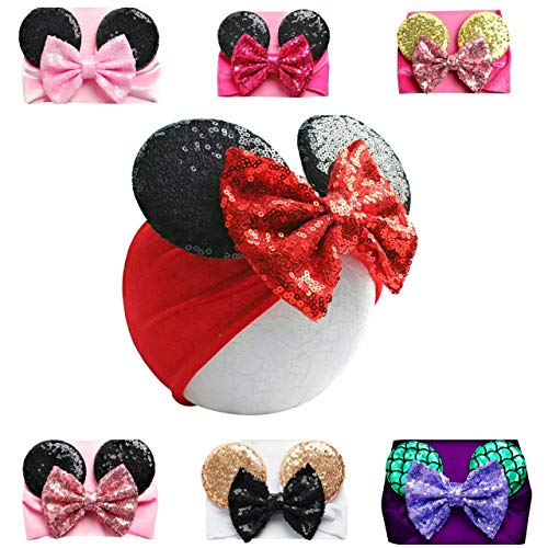Mouse Ears Headband/Headwrap - Toddler, Baby, Kids - Party supplies (01 - Red Bow with Black Ears)