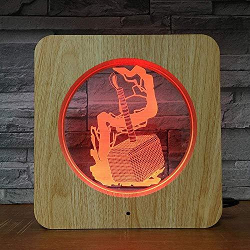Thor Hammer Superhero 3Dled Night Light DIY Lampe Lampe de Table Personnalisée Enfant Couleur Cadeau Famille Décoration Photo Cadre 2423