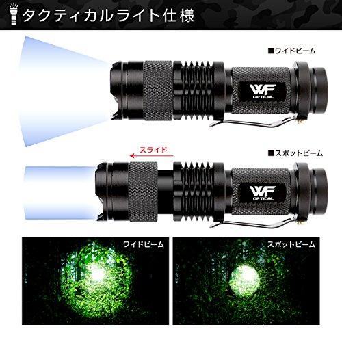 WFOpticalタクティカルライト(高輝度LED)+マウントリング(20㎜レイル対応)ウエポン/フラッシュライト