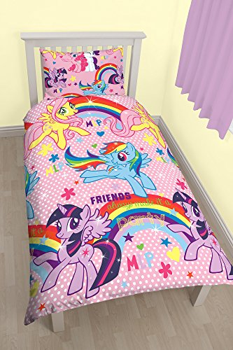 Character World My Little Pony Party Rotary Print Bettbezug-Set, Polycotton, Mehrfarbig, Single