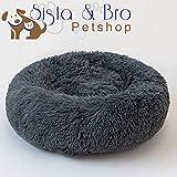 Sista & Bro Petshop Coussin Chat/Chien - Panier Rond Donut Moelleux - Lit pour Chat Chien Confortable Extra Doux Lavable - Couchage pour Chat ou Chien en Peluche Pilou Pillow Relaxant.