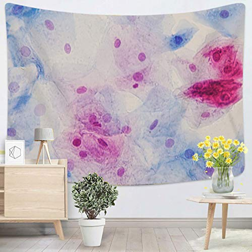 Houlor Blossom Tapestry Wall Hanging Squamous Epithelial Cells Under Microscope View For Education Histology Human Art Chakra Polyester Home Decorations For Bedroom Dorm Decor 60 X 80 Inches