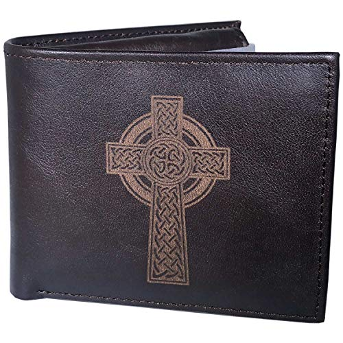 Leather Wallet for Men, Celtic Cross Design, 100% Real Leather