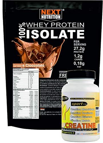 Proteine BCAA 100% Isolate WHEY V.B. 104 KG 1 Cacao Solo 0,18gr di Grassi e 1,2gr di Carboidrati + Creatina 4 Fonti 60 compresse Recupero Muscolare Senza Glutine Prodotte in Italia