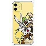 Funda para iPhone 11 Oficial de Looney Tunes Personajes Siluetas Transparente para Proteger tu móvil. Carcasa para Apple de Silicona Flexible con Licencia Oficial de Warner Bros.