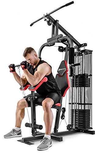 Hop-Sport HS-1044K Kraftstation für Zuhause - Fitnessstation + 66 kg Gewichte, Multigym Fitnesscenter mit Seilzug, Butterfly und Latzug