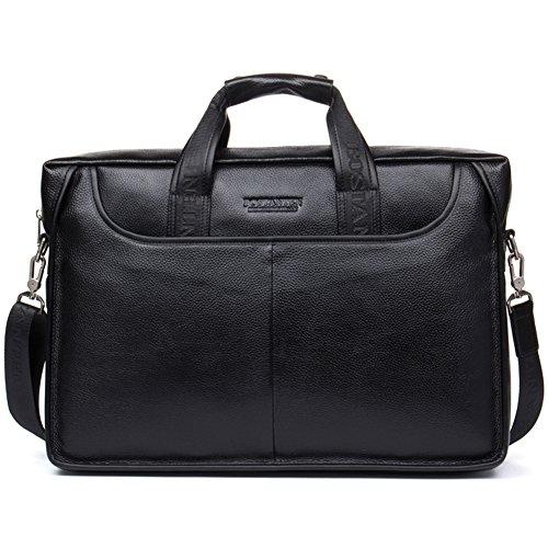 BOSTANTEN Leather Briefcase Handbag Messenger Business Bags for Men Black