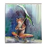CPYang Duschvorhänge Funny Frosch Regen Tag Wasserdicht Schimmelresistent Bad Vorhang Badezimmer Home Decor 168 x 182 cm mit 12 Haken