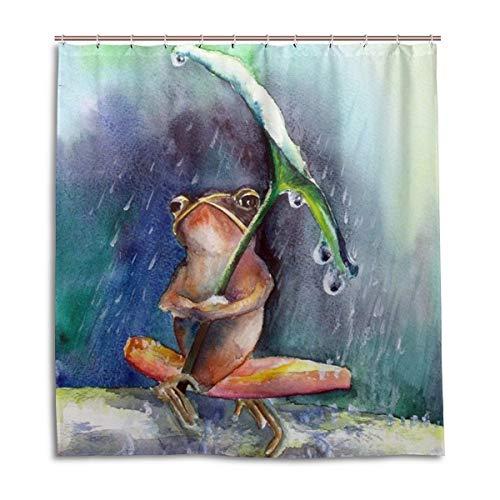 CPYang Duschvorhänge Lustiger Frosch Regentag Wasserdicht Schimmelresistent Badvorhang Badezimmer Home Decor 168 x 182 cm mit 12 Haken