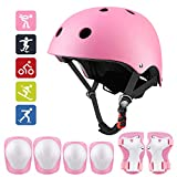 Middons Kids Protective Gear Set, Sport Protective Gear Set Boy Girl Adjustable Child Cycling Helmet with Knee Pads Elbow Pads Wrist Guards Youth Skateboard Helmet for 3~10yrs Boys Girls(Pink)
