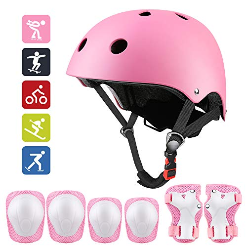 Middons Kids Protective Gear Set, Sport Protective Gear Set Boy Girl Adjustable Child Cycling Helmet with Knee Pads Elbow Pads Wrist Guards Youth Skateboard Helmet for 3~10yrs Boys Girls