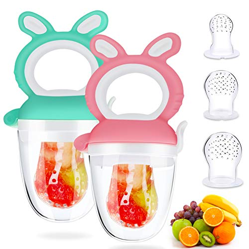 DIAOCARE 2 Stück Fruchtsauger,Silikon Sauger in 3 Größen,BPA-frei,Schnuller Beißringe für Obst Gemüse Brei Beikost,Fruchtsauger für Baby & Kleinkind