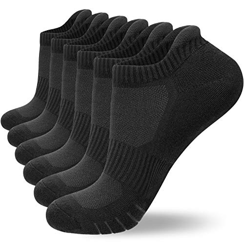 6 Pairs Running Socks for Men Women (Size 3-15) Ankle Athletic Trainer Socks Low Cut Sports Socks with Heel Tab, Cushion Sole by Anqier (Black*6 (M03), L- (UK 9-12/ EU 43-46))