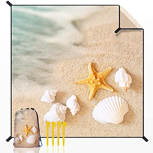 Gudeer Starfish Shell Beach Blanket Picnic Mat, 79x83 inchs, Waterproof and sandproof, Lightweight and Compact, with Four Fixed Hooks, Machine Washable, Suitable for Beach, Picnic,Park, Starfish