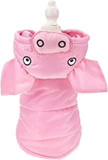 FLAdorepet Dog Pig Costume Winter Dog Coat in Cold Weather Waterproof Puppy Pet Cat Snowsuit for Small Dog