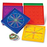 Learning Resources 5-Inch Double-Sided Assorted Geoboard Shapes, Set of 6 Boards, Ages 5+, Multi-color