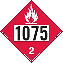 Labelmaster ZVR81075 UN 1075 Flammable Gas Hazmat Placard, Removable Vinyl (Pack of 25)