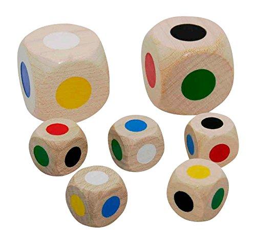 GICO Farbwürfel Set aus Holz - Sortiment 2 x 30 mm und 5 x 16 mm