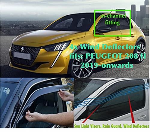 Juego de 4 deflectores de viento compatibles con Peugeot 208 II fabricado para Vauxhall Corsa F 2019 2020 2021 2022 2023 puerta lateral ventana lluvia protector parasol acrílico vidrio PMMA