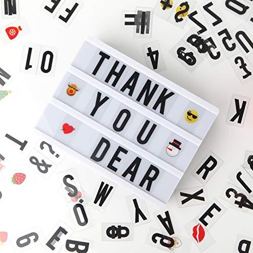 Lichtbox, LED Leuchtkasten A5 Lichtkasten mit 110 Buchstaben, Ziffern und Zeichen, USB Light Letter Box für Geburtstage, Partys