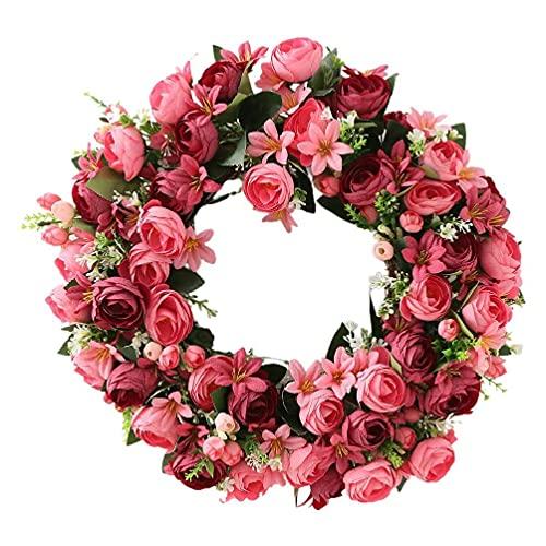 unknows Corona de flores de rosas de 50,8 cm hecha a mano de flores artificiales florales para decoración de la pared de la puerta delantera