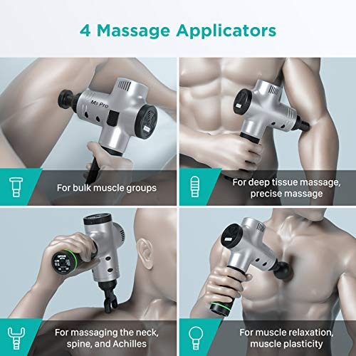 OPOVE M3 Pro Massage Gun Deep Tissue Percussion Muscle Massager for Pain Relief, Handheld Electric Body Massager Sports Drill Portable Super Quiet Brushless Motor, Silver