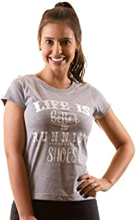 T-shirt Camiseta Feminina Baby Look Algodão - Life is Better in Running Shoes